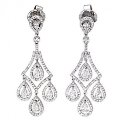 18k White Gold 1 93ct Round Pear Cut Diamond Drop Earrings