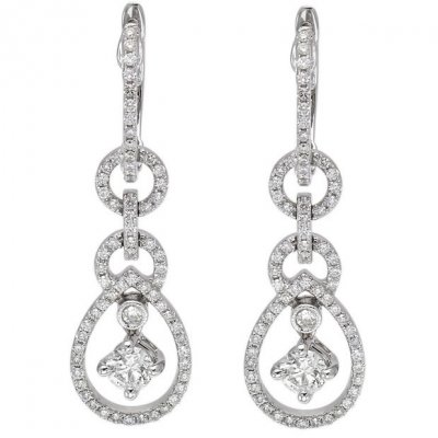 14k White Gold 0 58ct Round Diamond Drop Earrings