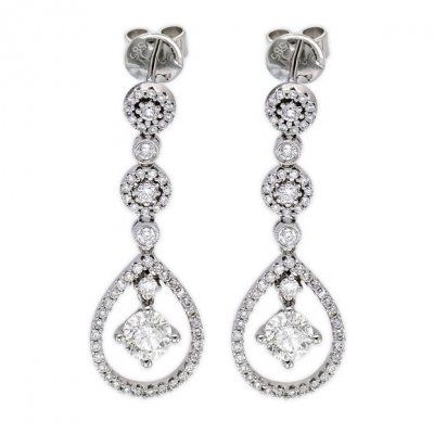 14k White Gold 1 42tcw Las Diamond Drop Earrings