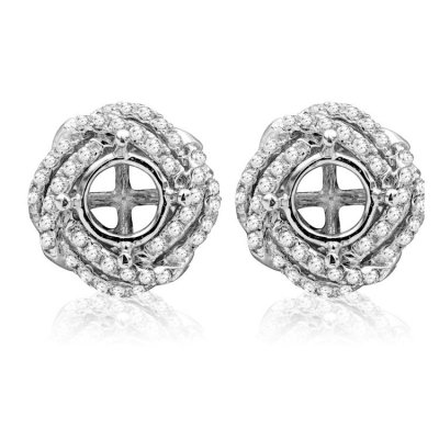 18k White Gold 0 66ct Diamond Stud Jacket Earrings