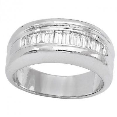 Mens Diamond Ring in 14K White Gold Baguette 1 04ct Channel Type