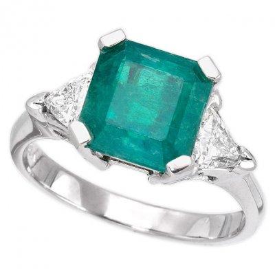 4127821ed592a 18K White Gold 3.23ct Emerald Cut Emerald & Diamond Ladies Ring ...