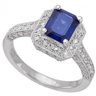 Platinum 1 46ct Emerald Cut Sapphire 0 74ct Diamond Ring Color