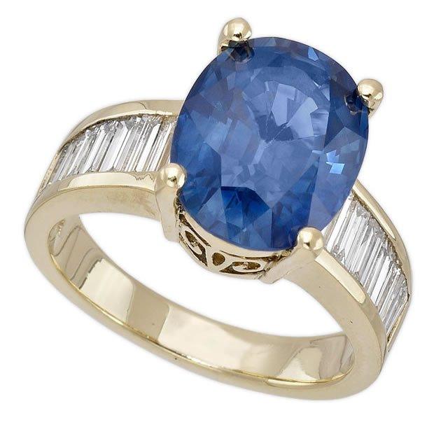 14K Yellow Gold 6.02ct Oval Cut Blue Sapphire & Diamond ...
