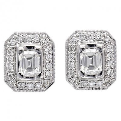 18k White Gold 1 55tcw Emerald Cut Diamond Stud Earrings